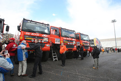 Team de Rooy GINAF X2223 rally trucks wait for scrutineering