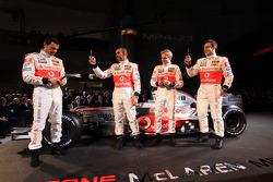 Playing with mobile phones, Gary Paffett, Test Driver, McLaren Mercedes , Lewis Hamilton, McLaren Mercedes, Heikki Kovalainen, McLaren Mercedes, Pedro de la Rosa, Test Driver, McLaren Mercedes
