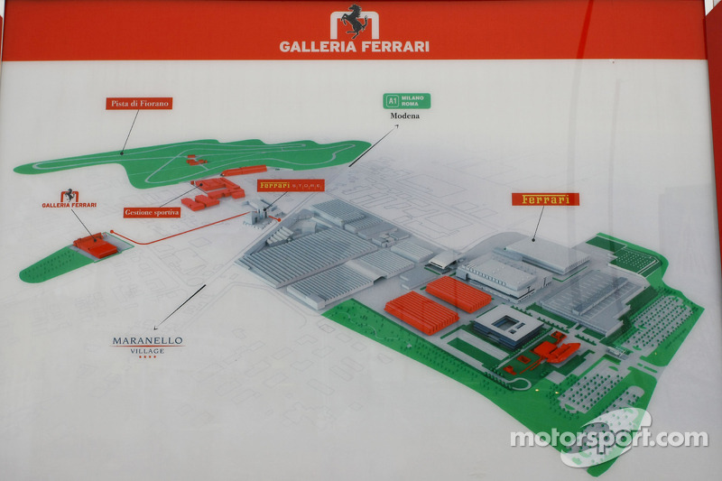 Ferrari factory, Fiorano and Maranello map
