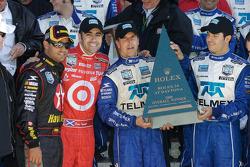 Victory lane: race winners Dario Franchitti, Juan Pablo Montoya, Scott Pruett, Memo Rojas with the winning trophy