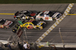 Dale Earnhardt Jr. and Dave Blaney battle for the lead on a restart