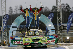 Podium: winners Jari-Matti Latvala and Miikka Anttila