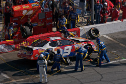 Kasey Kahne in his wrecked car in the pit