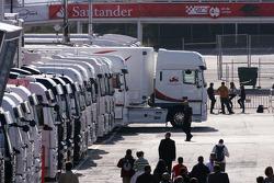 Super Aguri F1 Team trucks ready to leave Barcelona