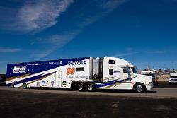The Aaron's team hauler makes its' way into the Las Vegas Motor Speedway