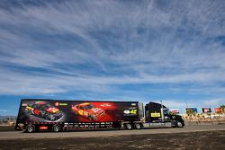 The Texaco Havoline team hauler makes its' way into the Las Vegas Motor Speedway