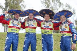 The BP Ford Abu Dhabi World Rally Team have fun before the start of the 2008 Rally Mexico: Mikka Anttila; Jari-Matti Latvala, Jarmo Lehtinen and Mikko Hirvonen