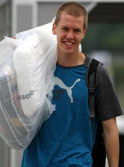 Sebastian Vettel, Scuderia Toro Rosso, carrying his race suit