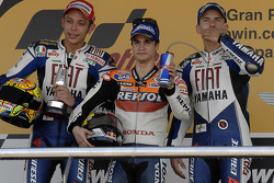 Podium: race winner Dani Pedrosa with Valentino Rossi and Jorge Lorenzo
