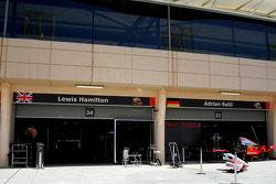 McLaren Mercedes, garages next to Force India F1 Team at the end of the pitlane