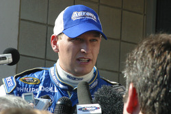 Michael McDowell talks with the press after being released from the infield care center