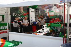 Car of Tony Kanaan is unloaded