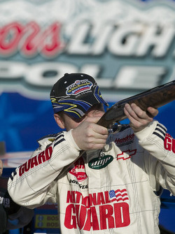 Dale Earnhardt Jr. tries out his new shotgun