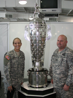 U.S. Army National Guard soldiers pose with the Borg-Warner Trophy