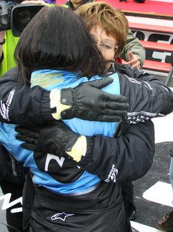 Race winner Danica Patrick celebrates