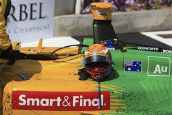 The winning car and helmet