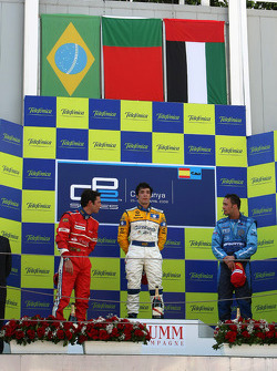 Podium: race winner Alvaro Parente with Bruno Senna and Andreas Zuber