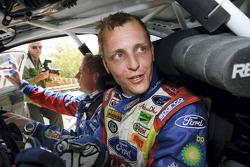 A delighted Mikko Hirvonen wins the 2008 Rally Jordan