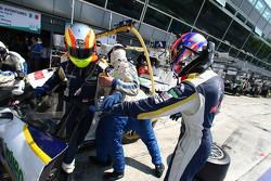 Pit stop for #72 Luc Alphand Aventures Corvette C6.R: Olivier Beretta, Patrice Goueslard, Guillaume Moreau