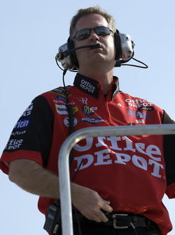 Crew Chief, Bob Osbourne, sits atop the trailer as he watches his Office Depot Ford make its' way through the turns