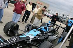 Danica Patrick's No. 7 car in the garage area