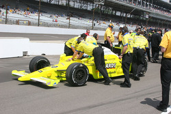 Ed Carpenter is pushed out of the qualifying line