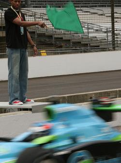 Danny Granger waves the green flag