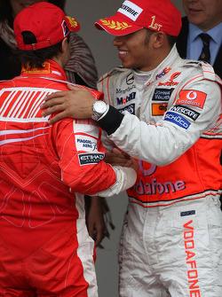 Winner, 1st, Lewis Hamilton, McLaren Mercedes, MP4-23 and Felipe Massa, Scuderia Ferrari, F2008