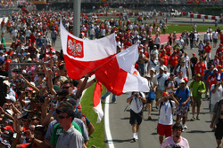 Fans and Polish flags