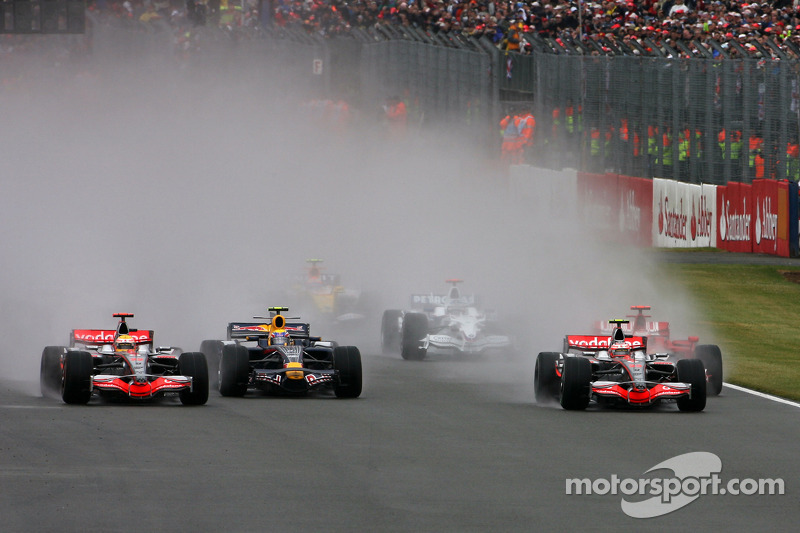 Start of the race: Heikki Kovalainen, McLaren Mercedes leads Lewis Hamilton, McLaren Mercedes and Mark Webber, Red Bull Racing