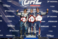 Podium: winner Joni Wiman, Olsbergs MSE Ford, second place Scott Speed, Andretti Autosport Volkswagen, third place Sebastian Eriksson, Olsbergs MSE Ford