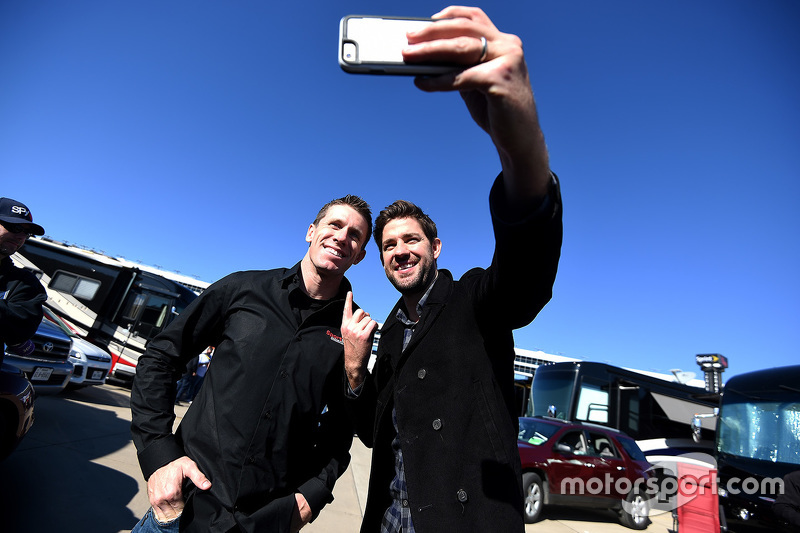 Actor John Krasinski (R) meets Carl Edwards, Joe Gibbs Racing