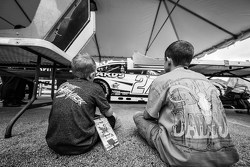 Young fans watch technical inspection