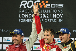 Winner Sebastian Vettel, second place Tom Kristensen, third place Petter Solberg