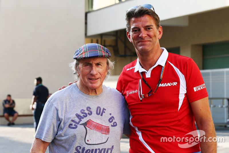 Jackie Stewart mit Graeme Lowdon, Manor Marussia F1 Team, Geschäftsführer