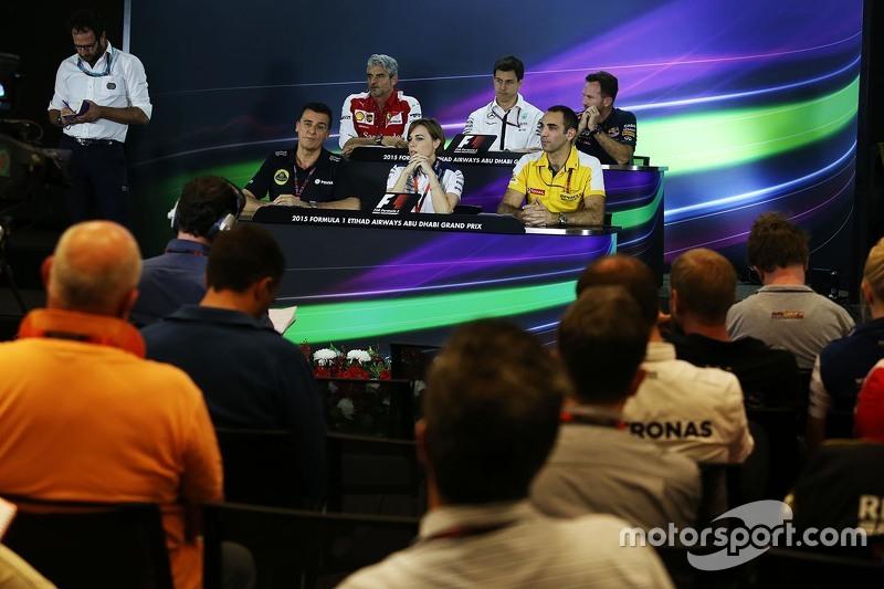 FIA-Pressekonferenz: Maurizio Arrivabene, Ferrari-Teamchef; Toto Wolff, Mercedes-Sportchef; Christian Horner, Red Bull Racing, Teamchef; Federico Gastaldi, Lotus F1 Team, stellvertretender Teamchef; Claire Williams, Williams, stellvertretende Teamchefin; Cyril Abiteboul, Renault Sport F1