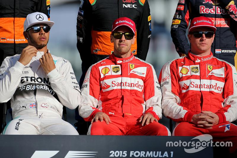 Lewis Hamilton, Mercedes AMG F1 Team; Sebastian Vettel, Scuderia Ferrari; Kimi Räikkönen, Scuderia Ferrari