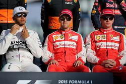 Lewis Hamilton, Mercedes AMG F1 Team, Sebastian Vettel, Scuderia Ferrari and Kimi Raikkonen, Scuderia Ferrari