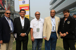 V. K. Misra, JK Tyres Technical Director, Raghupathi Singhania, Chairman & Managing Director of JK Tyres and Sanjay Sharma, Head of JK Motorsport