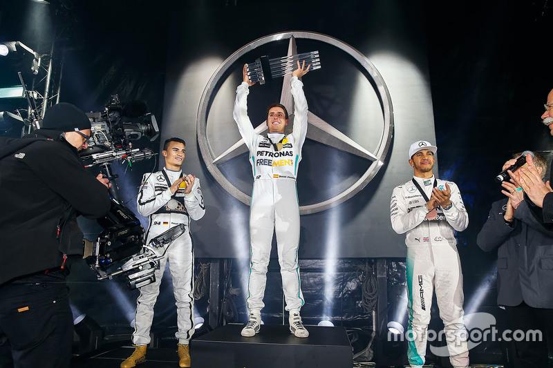 Winner Daniel Juncadella, second place Pascal Wehrlein, third place Lewis Hamilton, Mercedes AMG F1