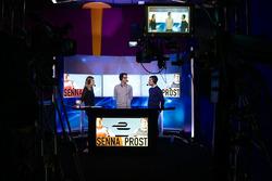 Presenter Nicki Shields, Bruno Senna, Nicolas Prost