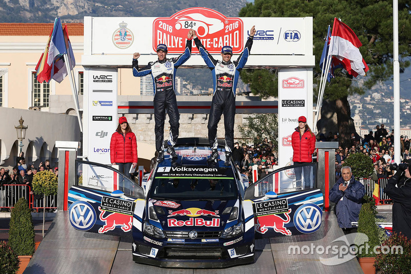 Podium: winners Sébastien Ogier, Julien Ingrassia, Volkswagen Motorsport at Rally Monte Carlo