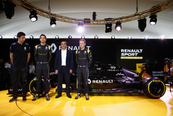 Carlos Ghosn, Renault President launching the Renault R.S. 16 with drivers Jolyon Palmer, Kevin Magnussen and Esteban Ocon Renault F1 tests driver