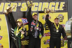 Top Fuel ganador Leah Pritchett, ganador de Pro Stock Jason línea, ganador de coche divertido Tim Wilkerson