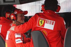 Michael Schumacher, Test Driver, Scuderia Ferrari and Stefano Domenicali, Scuderia Ferrari, Sporting Director