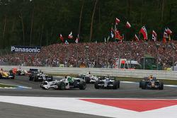 Jenson Button, Honda Racing F1 Team, RA108 leads Nico Rosberg
