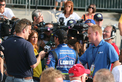 Jimmie Johnson talks with the press after his victory