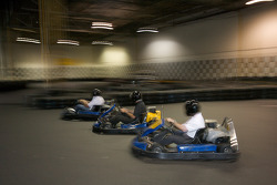 Drivers and media go-kart event: Scott Wimmer, Ron Fellows and ex-race car driver and NAPA Auto Parts 200 spokesperson Bertrand Godin