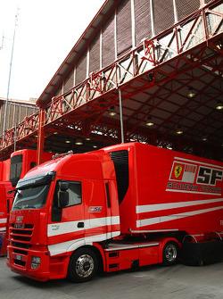 Valencia Circuit preparations, Scuderia Ferrari, truck