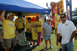 Juan Pablo Montoya greets race fans